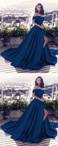navy blue prom dresses v-neck off the shoulder satin evening gowns for women