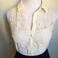 Lace Detail Cream Button Up Chiffon Shirt Beautiful lace detail.  Looks great with skirts or jeans.  Perfect condition.  Worn only once. Chloe K Tops Button Down Shirts