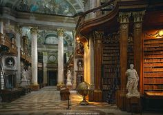 Court Library, now Austrian National Library, Vienna Hall with ornate bookcases. Beautiful Library, Dream Library, Library Books, Secret Rooms, Paper Book, Vienna Austria, Shop Interiors, Reading Room, Art Of Living