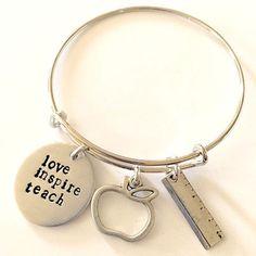 Teacher Appreciation Gift, Hand Stamped Bangle Bracelet