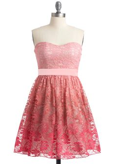 Prettiest of All Dress - Pink, Lace, Strapless, Prom, Fairytale, Floral, A-line, Spring, Mini, Short