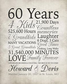 Anniversary Gift 60 Years Married or Any Year Gift for Grandma and Grandpa Grandparents Anniversary Parents Diamond Gray Sign 60th Anniversary Parties, 60 Wedding Anniversary, Parents Anniversary, Anniversary Decorations, Anniversary Celebration Ideas, Wedding Aniversary, Anniversary Funny, Diamond Anniversary, Anniversary Cards