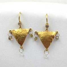 Hammered Triangle Diamond Earrings #Couture #with a #conscious