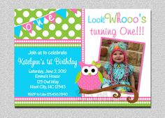 Owl Birthday Invitation Pink and Green Owl by TheTrendyButterfly, $15.00