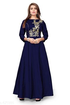 Gowns Classy Designer Women Gowns Fabric: Gown: Tafeta Silk  Inner: Cotton Sleeves: 3/4 Sleeves Are Included Size: Bust -  Up To 36 in to 40 in  Sleeve Length - 18 in Length: Up To 54 in Type: Semi Stitched Description: It Has 1 Piece Of  Women Gown Work: Embroidery Country of Origin: India Sizes Available: Free Size, Semi Stitched   Catalog Rating: ★4 (453)  Catalog Name: Deal of the day #315 CatalogID_76104 C79-SC1289 Code: 785-671385-8451