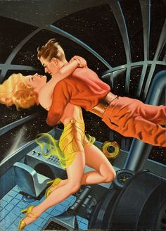 """This one is by pulp great Earle Bergey, for ""Things Pass By"" by Murray Leinster, and appeared on the cover of Thrilling Wonder Stories, Summer 1945. Bergey did a lot of work from the late 1920's through the mid-1930's on spicy pulps such as Snappy, Pep and La Paree, and he continued to draw gorgeous gals for the SF pulps as well during the 1940's and early 1950's."" Via Doug Ellis and Facebook."