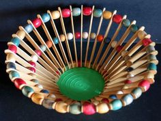"1950s Vintage Handmade Popsicle Stick and Bead Bowl Basket 10"" Kitsch craft"