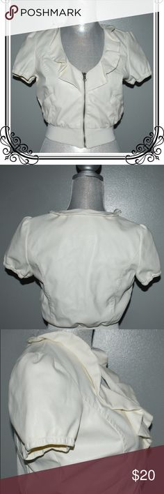 Brand New Paper Tee Faux Leather Cropped Jacket M Brand new (no tag) Paper Tee juniors off-white faux leather cropped jacket with frontal zipper and short sleeves. Jacket is lined and has pockets. Fabric: 100% Polyester and the bottom part of the jacket is 100% Cotton. Please be advised that colors may be slightly different due to lighting. Thank you for visiting my closet and happy poshing❤️ paper tee Jackets & Coats