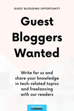 Do you want to share your knowledge and skills in tech-related topics such as computer coding, programming, web design, web development, or your best freelancing tips with our readers? We are accepting guest blog posts aimed at beginner-level readers, and we'd love to hear your ideas. Follow our submission guidelines, get in touch and let's talk! #mikkegoes
