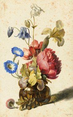 Dirck de Bray Flowers in a Vase 1674 Via: StillifeQuickheart