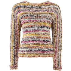 Esme Multi Colour Jumper (1.935 RUB) ❤ liked on Polyvore featuring tops, sweaters, long tops, brown sweater, hand knit wool sweaters, tall sweaters and long brown sweater