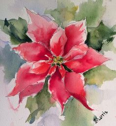 Image result for poinsettia watercolor christmas card