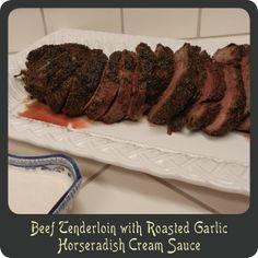 Beef Tenderloin with Roasted Garlic Horseradish Cream Sauce