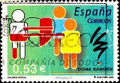 Spain.  BLOOD DONATION.  Scott  3346 A1300, Issued 2004 Jan 26, Perf. 13 3/4 x 14, 53. /ldb.