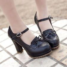 Womens Brogue Retro Vintage Bow LoLita Leather Mary Jane High Heel Pumps Shoes