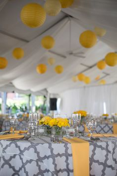 Yellow hanging lanterns  Photo By: Mandy Paige Photography