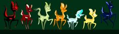 The deers (shape shifters) (Left to right - Alastor, Camilla, (don't know her name), Autumn, Winter, Summer, and (whats his/her face...)