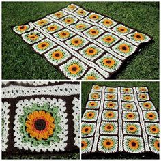 """From fan Kat Avendano: """"Recently finished this Sunflower Afghan using Red Heart super saver yarn and the free Red Heart pattern.""""  http://www.redheart.com/free-patterns/crochet-sunflower-afghan"""