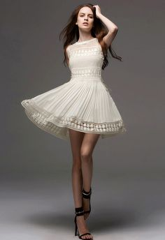 Beautiful this ~Song of Canary Pleated Dress with Crochet Hamline in Golden