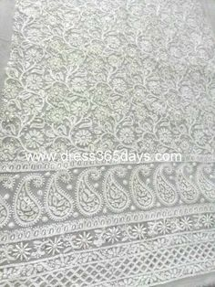 Buy White Unstitched Chikankari Fabric in Pure Georgette Embroidery Online, Indian Embroidery, Embroidery Stitches, Embroidery Patterns, Hand Embroidery, Lucknowi Suits, Chikankari Suits, Wedding Chaniya Choli, Saree Painting