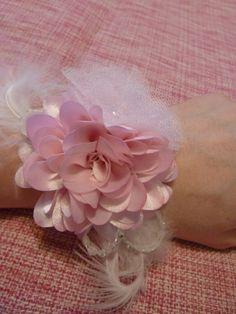 Valentines Pink Fabric Flower Wrist Corsage