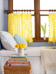 decor, windows, nook, window treatments, cafe curtains, yellow, shade, diy curtains, window seats