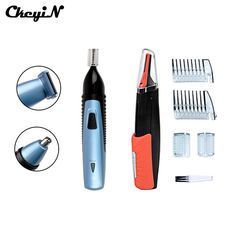 CkeyiN 2Pcs Beard Ear Eyebrow Nose Trimmer Removal Clipper Shaver With LED Light Multifunction Rechargeable Hair Trimmer Clipper