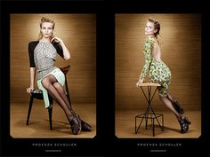 Proenza Schouler Spring 2012 ad campaign. Model: Natasha Poly. Photographer: Willy Vanderperre. The stool on the right hand is a mid century modern piece from Frederick Weinberg I think?