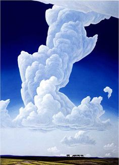 Painting of tall white thunderhead in intense blue sky; small piece of earth at bottom with horses (in outline) on horizon.