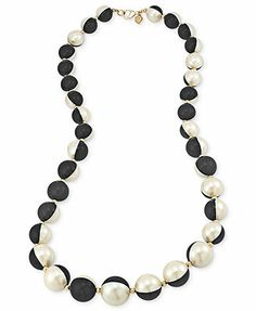 Carolee Necklace, Black and White Glass Pearl Long Necklace