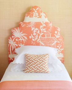 I love this bedroom from Coastal Living - orange, grasscloth walls, crisp white linens, a padded headboard, and best of all - pagoda fabric. Beautiful Bedrooms, Beautiful Decor, Beachy Bedroom, Room Colors, Coastal Design, Chinoiserie Chic, Remodel Bedroom, Island Bedroom, Headboard