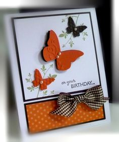 Stamps:  Stem Silhouettes, On your Birthday; Paper:  Tangerine Tango, Pattern DSP, Early Espresso, Whisper White; Ink:  Pear Pizzazz, Early Espresso; Accessories:  plaid ribbon, pearls; Tools:  Big Shot, Beautiful Wings embosslit, dimensionals. CE