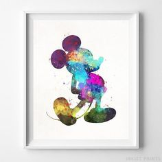 Mickey Mouse Type 3 Wall Art Disney Watercolor Poster Nursery Room Gift UNFRAMED