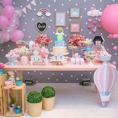 Create your perfect party with various decorations like the picture below!Choose from some of plain and themed birthday party decorations including banners, bunting, paper decorations, pom poms,baloon and more. Pig Birthday, 1st Birthday Parties, Birthday Party Decorations, Pig Party, Baby Party, Aniversario Peppa Pig, Festa Party, Unicorn Party, Photos