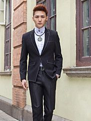 Black Solid Slim Fit Tuxedo In Polyester – USD $ 83.99
