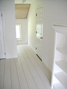 Rustic White Painted Floors for 45 Cents a Square Foot — Frugal Farmhouse Design plywood planks, primer, deck paint Painted Wooden Floors, White Painted Floors, White Wood Floors, Painted Floorboards, White Flooring, Painting Hardwood Floors, White Floorboards, Rustic Floors, Pine Floors