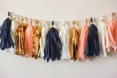 Navy White Gold Mylar Peach Tissue Tassel  Chloe's next party colors. my new fav color scheme