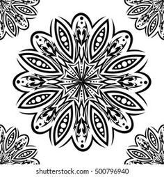 Imágenes similares, fotos y vectores de stock sobre Mandala pattern black and white good mood; 1221848473 | Shutterstock Stencil Art, Stencils, Coloring Sheets, Coloring Pages, Flower Texture, Flower Tattoos, Textures Patterns, Flowers, Healthy Living