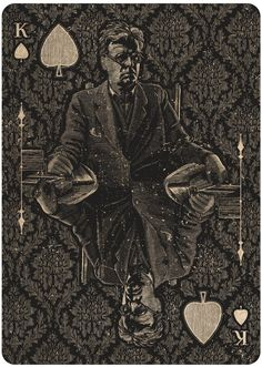ORACLE -Mystifying playing cards by Chris Ovdiyenko on kickstarter.  King of Spades    The image depicts William Butler Yeats, considered by many to be one of the most important poets of the 20th Century. He and his wife were devout spiritualists.