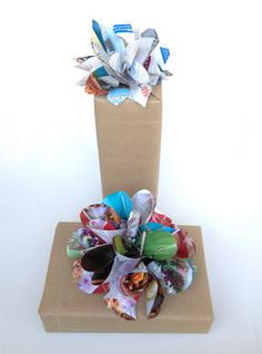 #Giftwrap #recycled with brown bags and flowers Made with magazine pages.