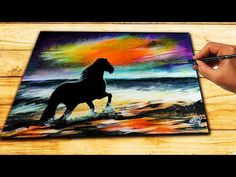 Acrylic Painting Tutorial - Ocean Sunset | HORSE Painting Demo step by step - YouTube