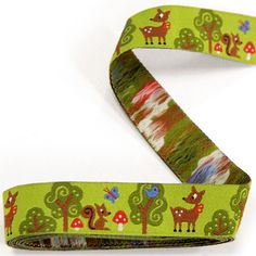 Woven Ribbon Forest Friends 1 - green - Children's Ribbons with animal designs - myfabrics.co.uk