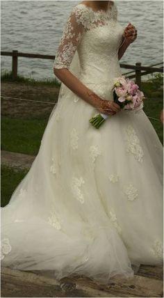 Robe de mariée, manche dentelle d'occasion - Isère