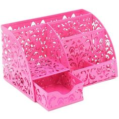 Amazon.com : EasyPAG Carved Hollow Flower Pattern Desk Organizer 5... (€17) ❤ liked on Polyvore featuring home, home decor, office accessories, pink desk organizers, pink office accessories, pink caddy, pink office supplies and pink desk organizer