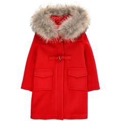 Wool blend cloth Satin lining Raccoon fur Comfortable item Warm item Straight fit Large hood Long sleeves Flap pockets Slit in the back Zipper on the front Frog button fastening   Removable fur - $ 469.20
