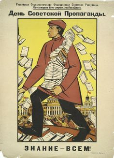 """Soviet propaganda day. Knowledge to everyone"" / Russian Propaganda Poster"
