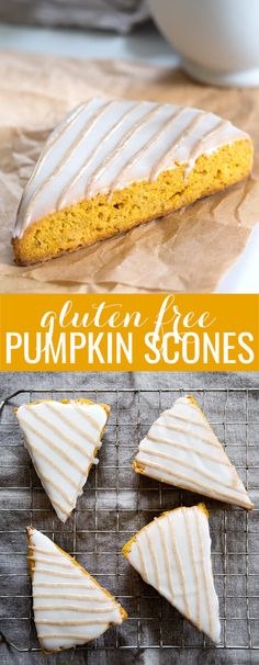 These iced gluten free pumpkin scones taste like pumpkin pie in a neat little handheld pastry. Made with my favorite pumpkin butter, and spiced just right!