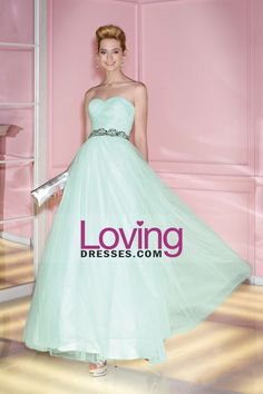 2014 Concise Sweetheart Dresses Tulle Floor Length Beaded Waistline Lace Up