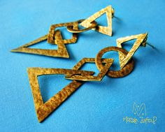 Silver Erings Geometrical Form Gold Washed