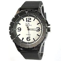 MapofBeauty Modisch und Stilvoll Einfach Analoges Quarzwerk Uhren Schwarz Kautschuk Uhrenarmband Herren Armbanduhr (Schwarz Band/Wei Wählen) - http://uhr.haus/mapofbeauty/mapofbeauty-modisch-und-stilvoll-einfach-uhren-4